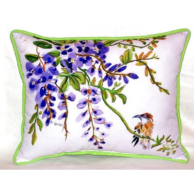 Wisteria and Bird 24 Indoor/Outdoor Lumbar Pillow