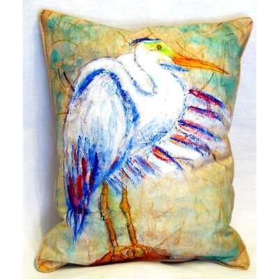 Egret on Rice Indoor/Outdoor Lumbar Pillow