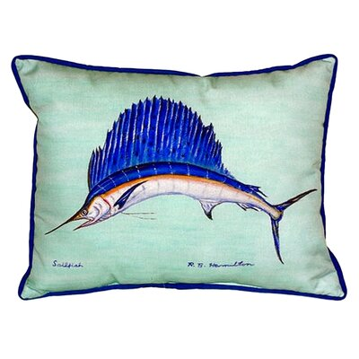 Sailfish Indoor/Outdoor Lumbar Pillow Color: Teal