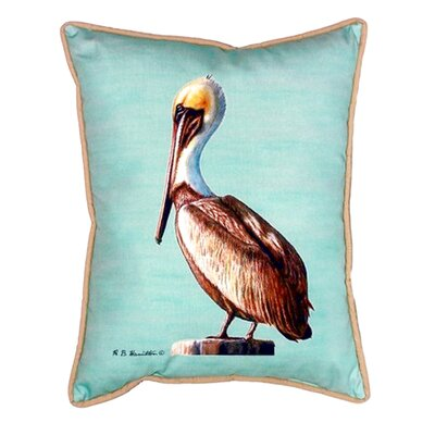 Pelican Indoor/Outdoor Pillow Color: Teal, Size: 24 H x 20 W