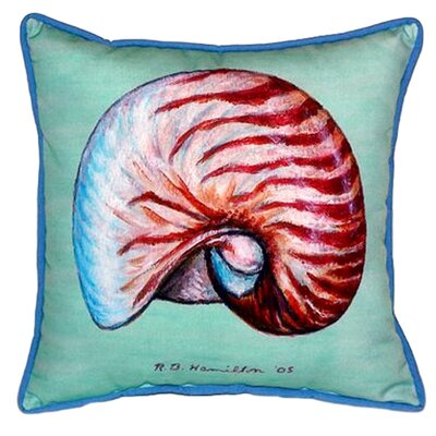 Nautilus Shell Indoor/Outdoor Throw Pillow Color: Teal