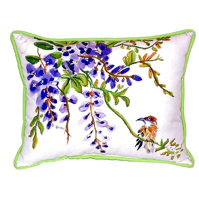 Wisteria and Bird Indoor/Outdoor Lumbar Pillow
