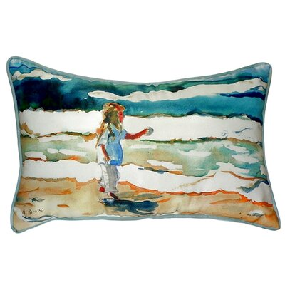 Girl at the Beach Indoor/Outdoor Lumbar Pillow Size: Large