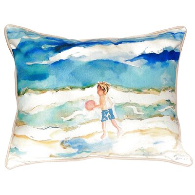 Boy and Ball Indoor/Outdoor Lumbar Pillow Size: Large