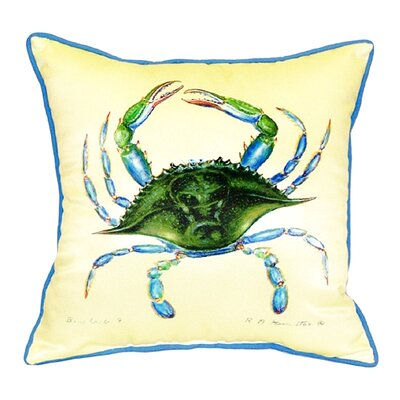 Coastal Female Crab Indoor/Outdoor Throw Pillow
