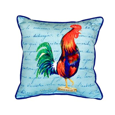 Rooster Script Indoor/Outdoor Throw Pillow Size: Large