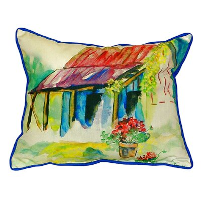 Barn and Geranium Indoor/Outdoor Lumbar Pillow Size: Small