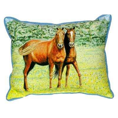 Two Horses Indoor/Outdoor Lumbar Pillow Size: Large