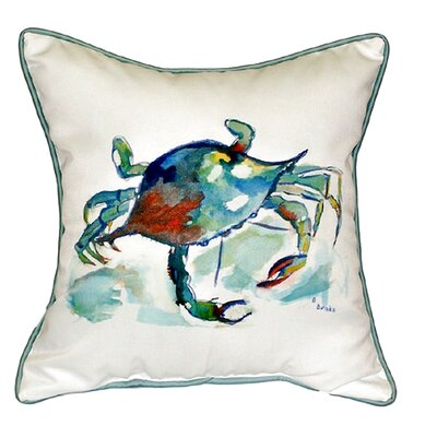 Coastal Stripe Crab Indoor/Outdoor Throw Pillow