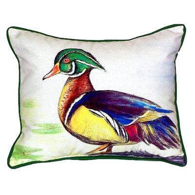 Male Wood Duck Script Indoor/Outdoor Lumbar Pillow Size: Large