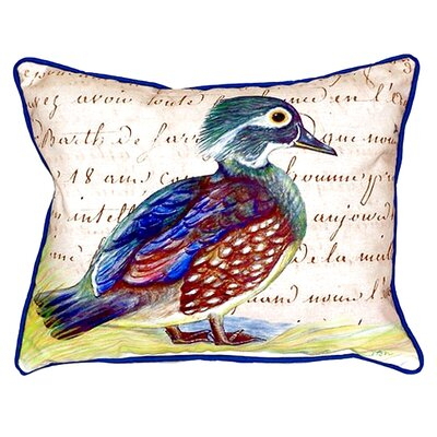 Female Wood Duck Script Indoor/Outdoor Lumbar Pillow Size: Small