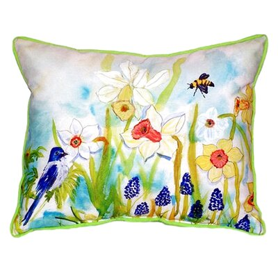 Bird and Daffodils Indoor/Outdoor Throw Pillow Size: Large