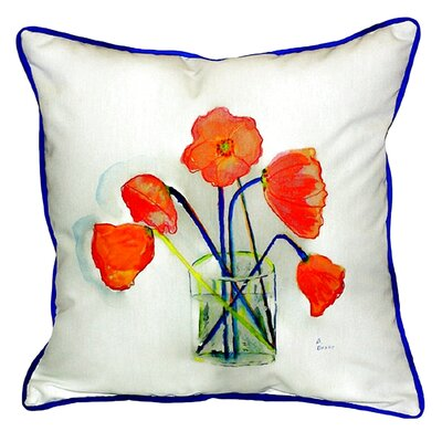 Garden Poppies in Vase Indoor/Outdoor Throw Pillow