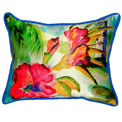 Lighthouse and Florals Indoor/Outdoor Lumbar Pillow Size: Large