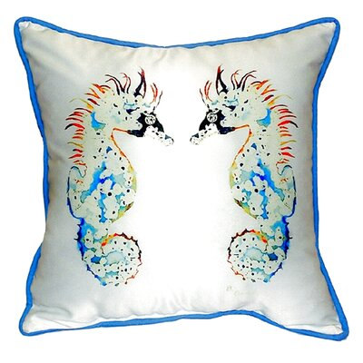 Sea Horses 22 Indoor/Outdoor Throw Pillow Color: White / Light Blue