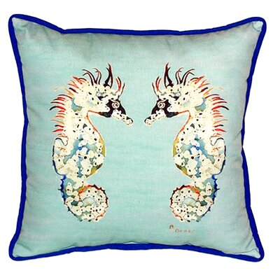 Sea Horses 22 Indoor/Outdoor Throw Pillow Color: Teal / Blue