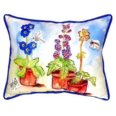Potted Flowers Indoor/Outdoor Lumbar Pillow Size: Large