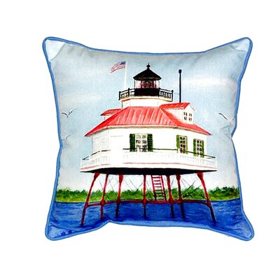 Drum Point Lighthouse Indoor/Outdoor Throw Pillow