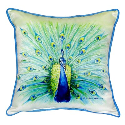Peacock Indoor/Outdoor Throw Pillow Size: Large