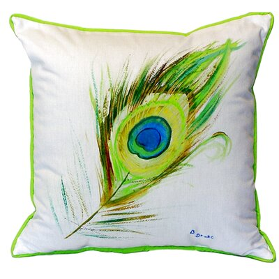 Peacock Feather Indoor/Outdoor Throw Pillow Size: Large
