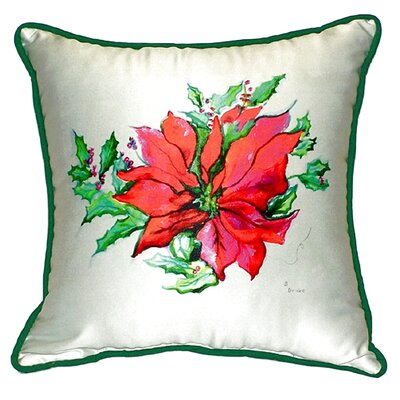 Poinsettia Indoor/Outdoor Throw Pillow Size: Small