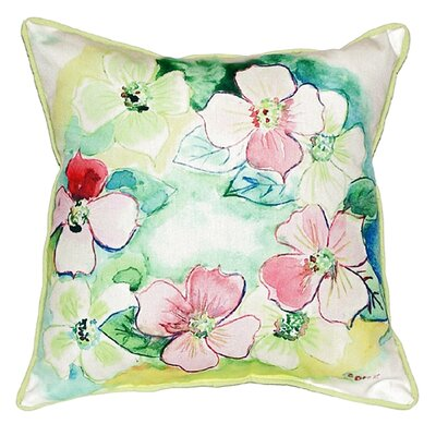 Flower Wreath Indoor/Outdoor Throw Pillow Size: Small