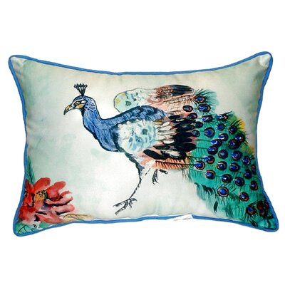Peacock Indoor/Outdoor Lumbar Pillow Size: Large