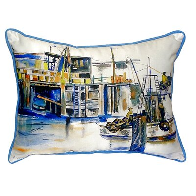 Fishing Boat Indoor/Outdoor Lumbar Pillow Size: Large