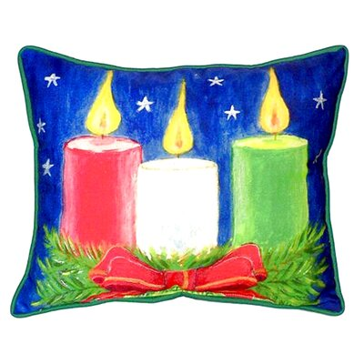 Christmas Candles Outdoor Lumbar Pillow Size: Large