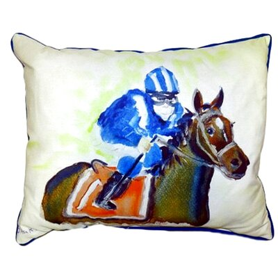 Horse & Jockey Outdoor Lumbar Pillow Size: Large