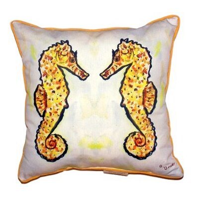 Gold Sea Horses Outdoor Throw Pillow Size: Small
