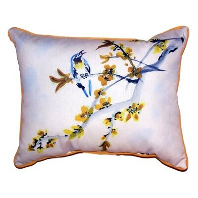 Bird & Forsythia Outdoor Lumbar Pillow Size: Small