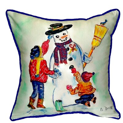 Snowman Outdoor Throw Pillow Size: Large