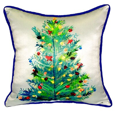 Christmas Tree Outdoor Throw Pillow Size: Large