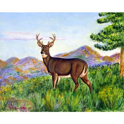 Deer in Mountains Doormat Mat Size: Rectangle 26 x 42