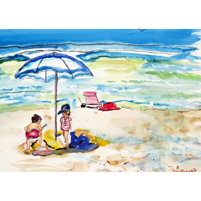 Children at the Beach Doormat Mat Size: Rectangle 16 x 22