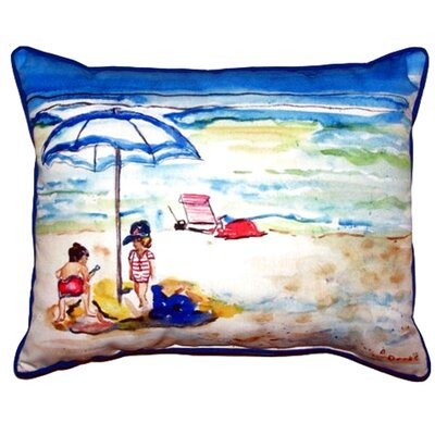 Children at the Beach Outdoor Lumbar Pillow Size: Small