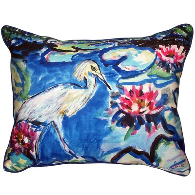 Heron and Waterlilies Indoor/Outdoor Lumbar Pillow Size: Large