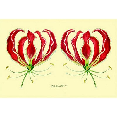 Garden Red Lily Doormat Mat Size: Rectangle 18 x 26