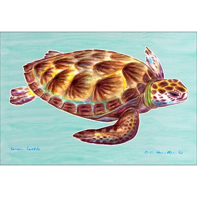 Coastal Sea Turtle Doormat Mat Size: Rectangle 30 x 50