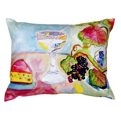 Wine and Cheese Indoor/Outdoor Lumbar Pillow