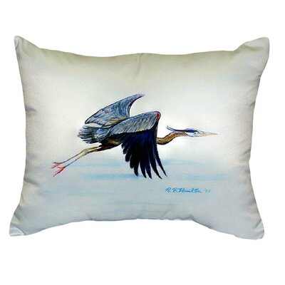 Flying Heron Indoor/Outdoor Lumbar Pillow Color: Blue