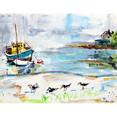 Boats and Sandpipers Doormat Rug Size: 26 x 42