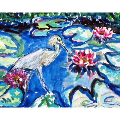 Heron and Waterlilies Doormat Rug Size: 26 x 42