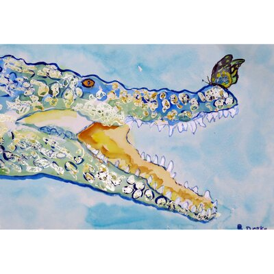 Croc and Butterfly Doormat Rug Size: 16 x 22