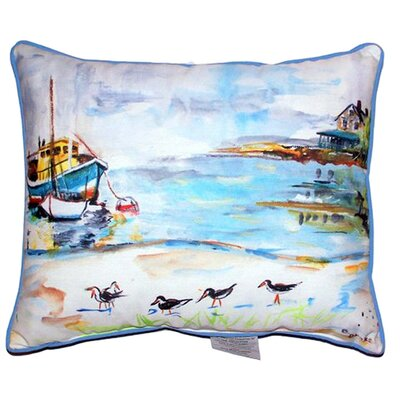 Boat and Sandpipers Indoor/Outdoor Lumbar Pillow Size: Small