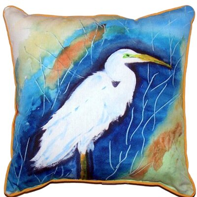 Great Egret Indoor/Outdoor Throw Pillow Size: Large