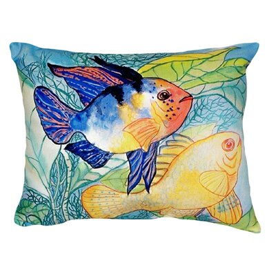Two Fish Indoor/Outdoor Throw Pillow