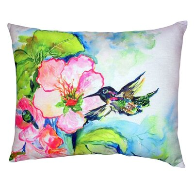 Hummingbird and Hibiscus Indoor/Outdoor Lumbar Pillow
