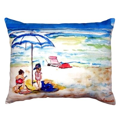 Playing On The Beach Indoor/Outdoor Lumbar Pillow